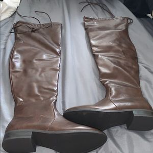 Patent leather brown knee high boots